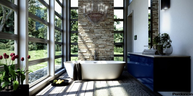 Bathtubs with a View of Nature  Bathtubs with a View of Nature Blue bathroom vanity unit