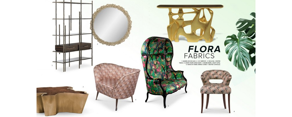 interior design trends Spring/Summer Interior Design Trends: Flora Fabrics and Its Succulent Patterns Moodboard FLORA FABRICS
